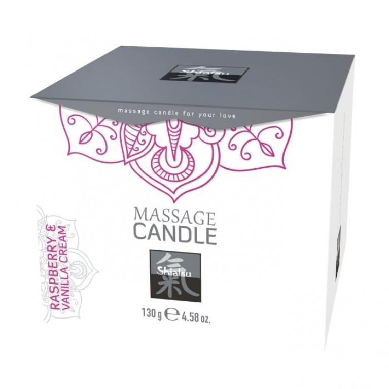 Массажные свечка с ароматом Малина & Ванильный крем торговой марки «Shiatsu». 130 гр.