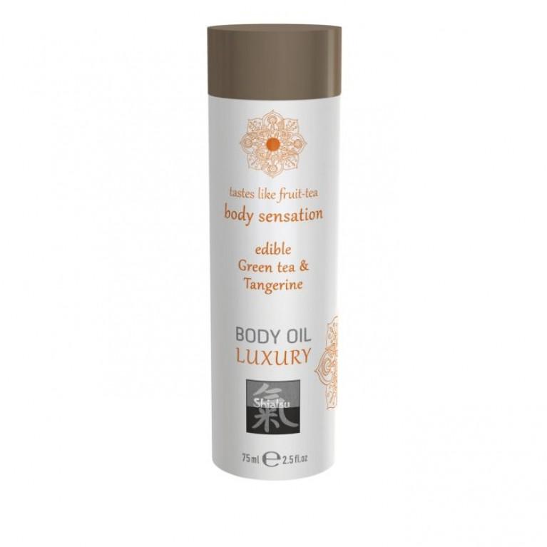 Luxury body oil - Green tea & Tangerine/Съедобное масло для тела - Зеленый чай & мандарин 75 мл.