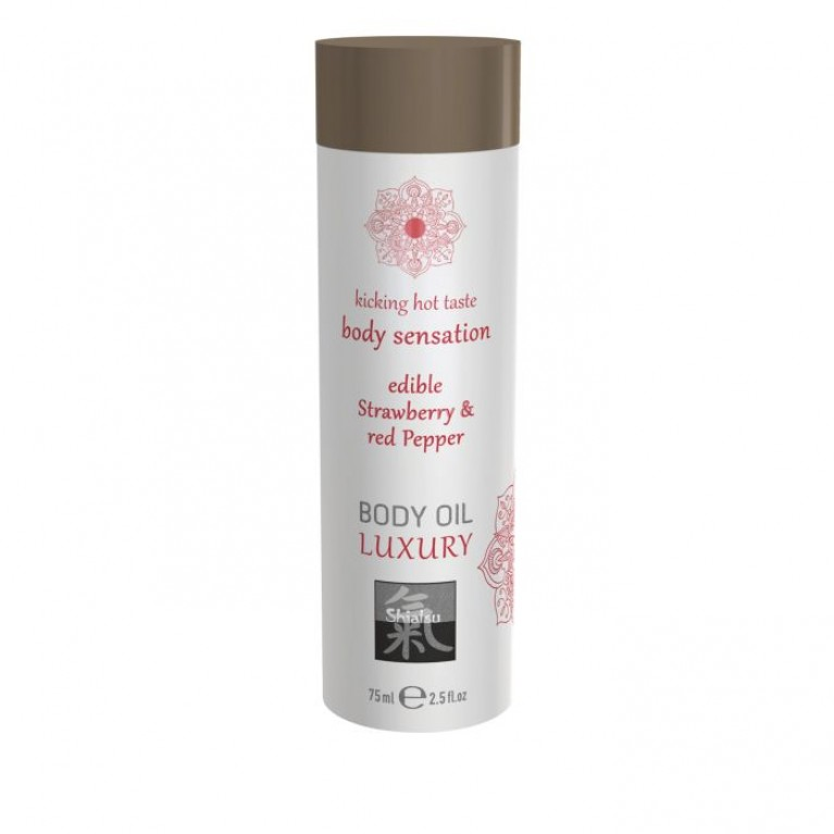 Luxury body oil - Strawberry & Red Pepper/Съедобное масло для тела -Клубника & Красный перец 75 мл.